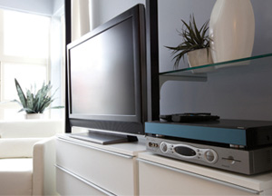 Television with a cable box and PVR in a living room